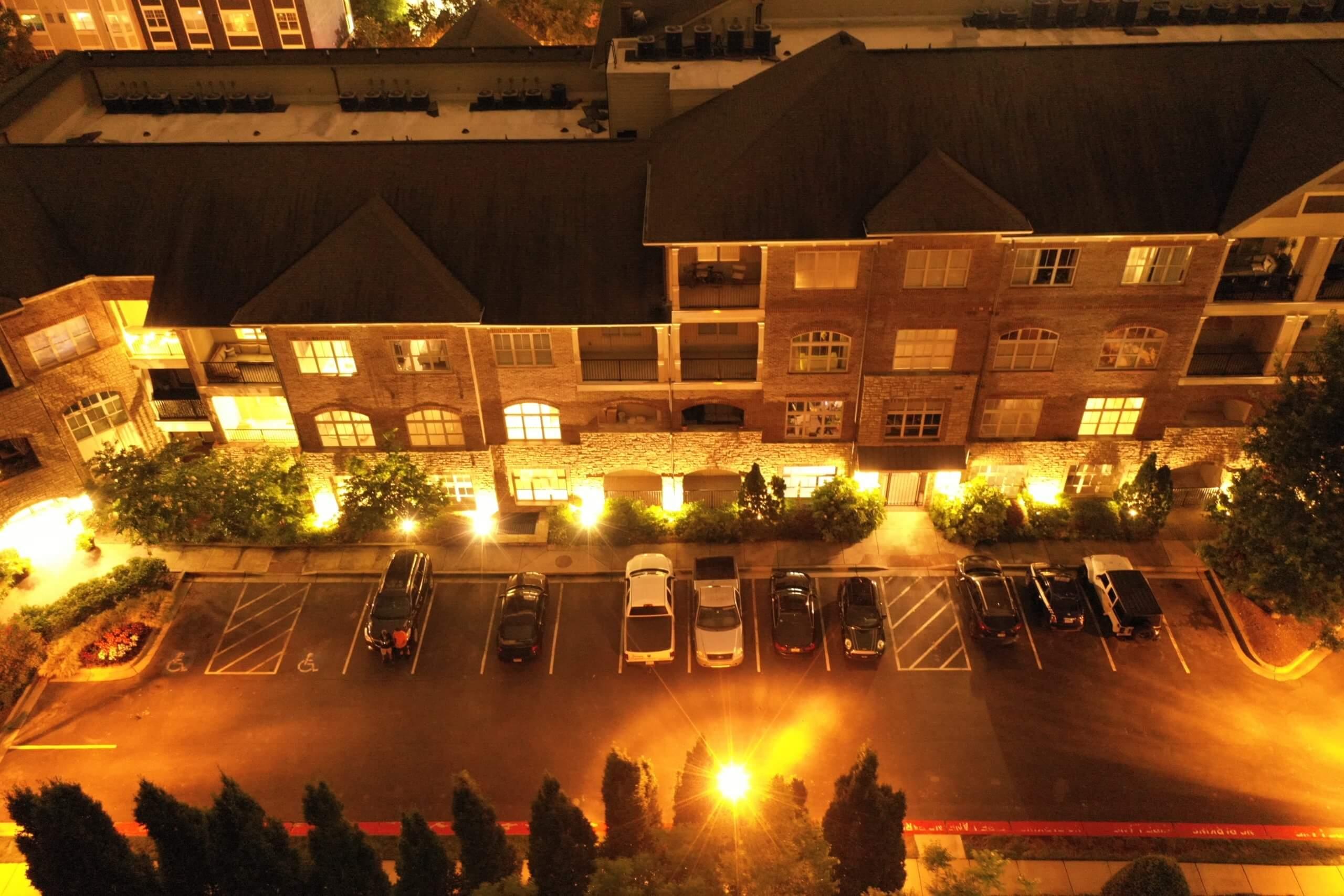 Atlanta Condominium Parking area LED conversion and accent lighting