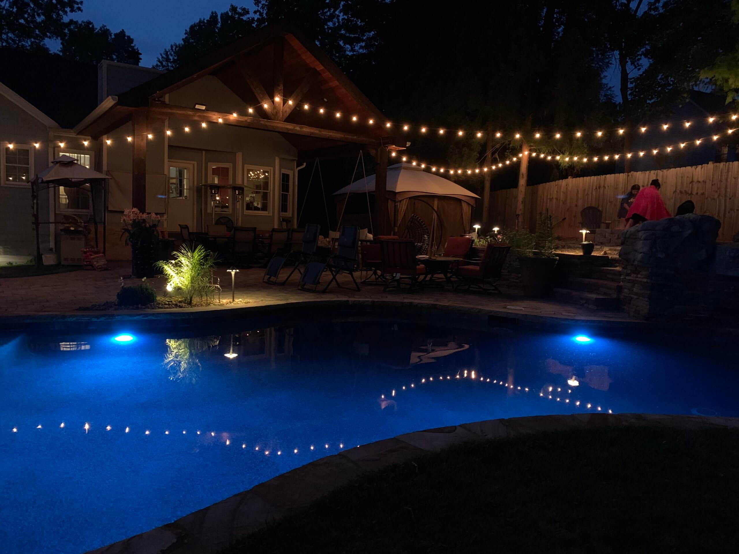 String lights over pool